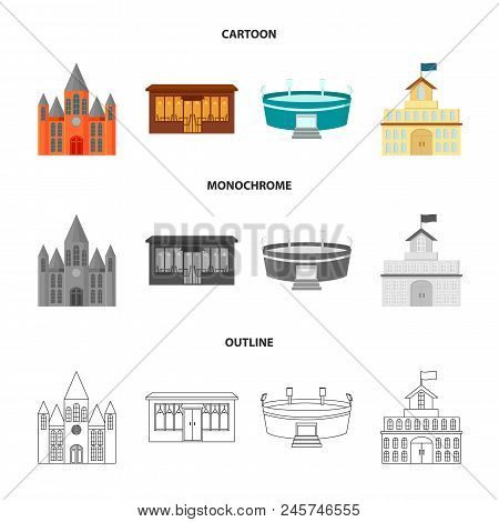 House Of Government, Stadium, Cafe, Church.building Set Collection Icons In Cartoon, Outline, Monoch