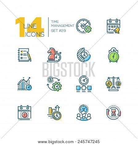 Time Management - Set Of Line Design Style Icons, Isolated On White Background. High Quality Busines