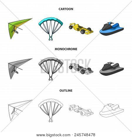 Hang Glider, Parachute, Racing Car, Water Scooter.extreme Sport Set Collection Icons In Cartoon, Out