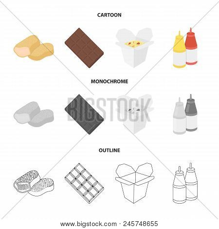 Chocolate, Noodles, Nuggets, Sauce.fast Food Set Collection Icons In Cartoon, Outline, Monochrome St