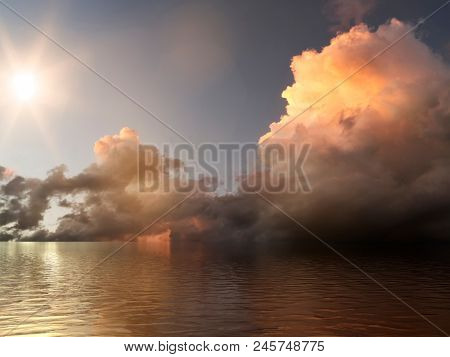 An image of a sunset sky with colorful cloud