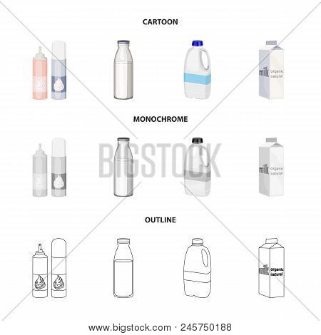 Milk, Calcium, Product, Food .milk Product And Sweet Set Collection Icons In Cartoon, Outline, Monoc