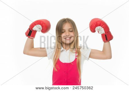 Winner Takes It All. Child Ambitious Likes Win And Success. Girl On Smiling Face Posing With Boxing
