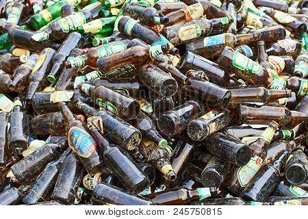 Slavske, Ukraine - May 26, 2018: Empty Glass Beer Bottles Of Local Ukrainian Manufakturers Gathered