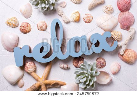 Word Relax And Marine  Decorations On White Textured  Background. Sea Star, Shells, Coral, Succulent