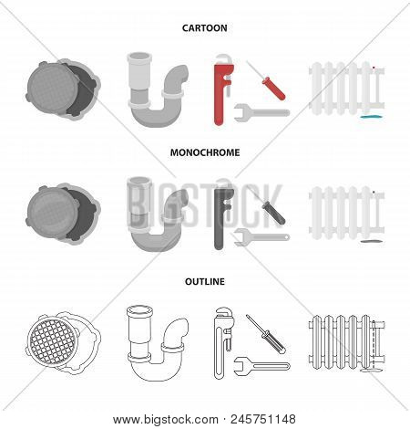 Sewage Hatch, Tool, Radiator.plumbing Set Collection Icons In Cartoon, Outline, Monochrome Style Vec