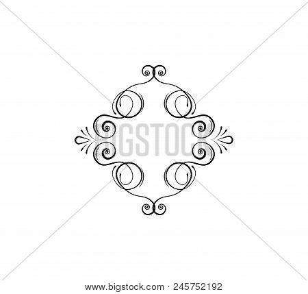 Calligraphic Swirly Frame, Decorative Flourish Dividers. Flourish Filigree Pattern. Ornamental Deisg
