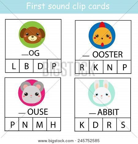 Beginning Sound Clip Cards For Kids. Find First Sound For Farm Animals. Educational Activity For Chi
