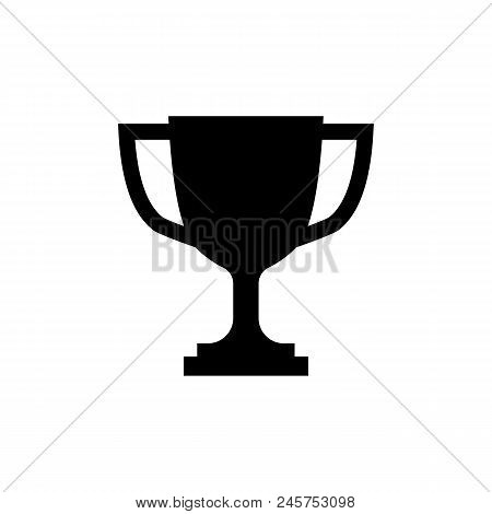 Trophy Cup Icon In Flat Style. Simple Winner Symbol Isolated On White Background. Simple Abstract Tr