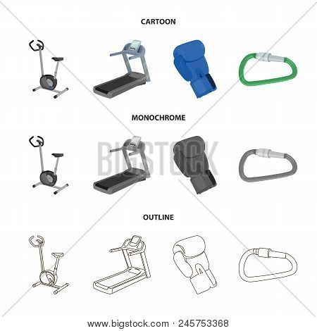 Exercise Bike, Treadmill, Glove Boxer, Lock. Sport Set Collection Icons In Cartoon, Outline, Monochr