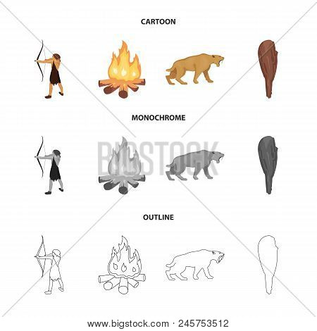 Man, Hunter, Onion, Bonfire .stone Age Set Collection Icons In Cartoon, Outline, Monochrome Style Ve