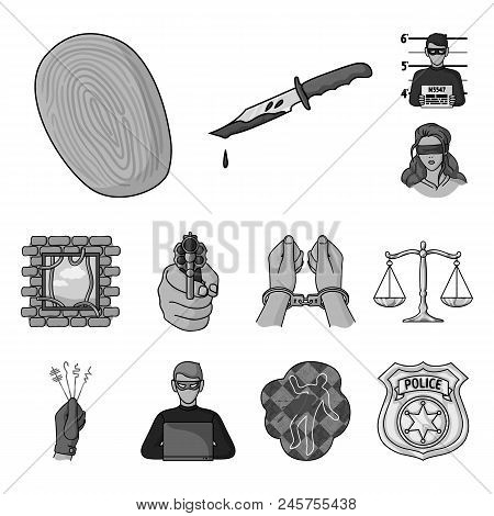 Crime And Punishment Monochrome Icons In Set Collection For Design.criminal Vector Symbol Stock  Ill