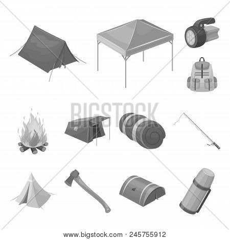Different Kinds Of Tents Monochrome Icons In Set Collection For Design. Temporary Shelter And Housin
