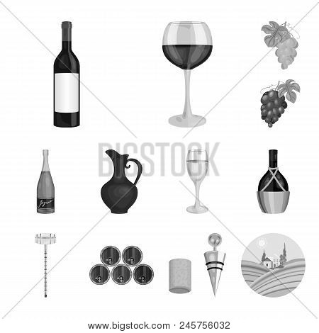 Wine Products Monochrome Icons In Set Collection For Design. Equipment And Production Of Wine Vector