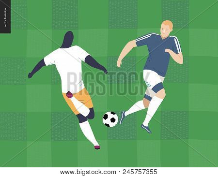 European Football, Soccer Players - Flat Vector Illustration Of A Young Men Wearing European Footbal