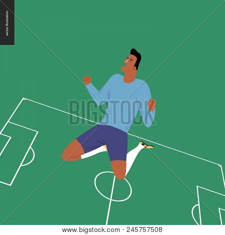 European Football, Soccer Player - Flat Vector Illustration - Soccer Player Winning A Victory - A Yo