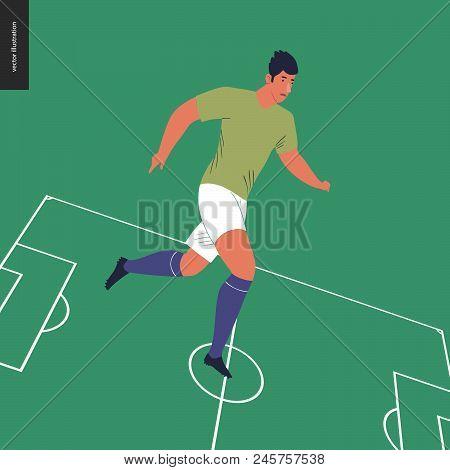 European Football, Soccer Player - Flat Vector Illustration Of A Running Young Man Wearing European