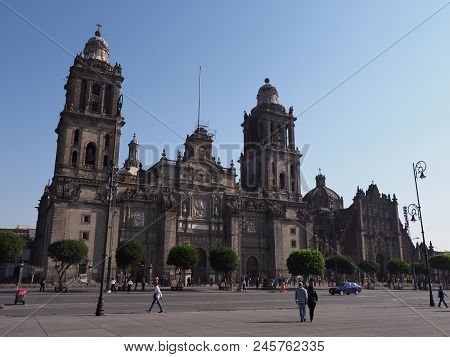 Mexico City, North America On March 2018: Front Of Metropolitan Cathedral Of The Assumption Of Mary