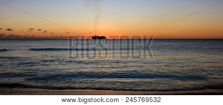 Sunset At The Beach In Barbados Island, Caribbean.  Idyllic Evening At The Beach In Barbados.  Cruis