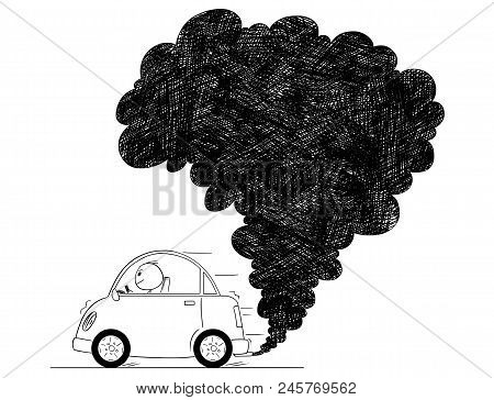 Vector Artistic Pen And Ink Drawing Illustration Of Smoke Coming From Car Exhaust Into Air. Environm