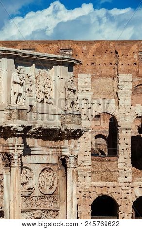 Antiquities, Archeology And Vistiges Of The Past In Rome. Coliseum Monumental Arches And Arch Of Con