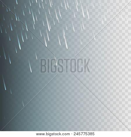 Stock Vector Illustration Rain, Rainfall Isolated On A Transparent Background. Rainstorm, Heavy Rain