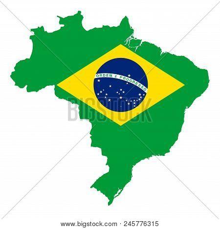 National Flag Of Brazil In Country Silhouette. Ensign, A Auriverde, Blue Disc With Starry Sky And Na