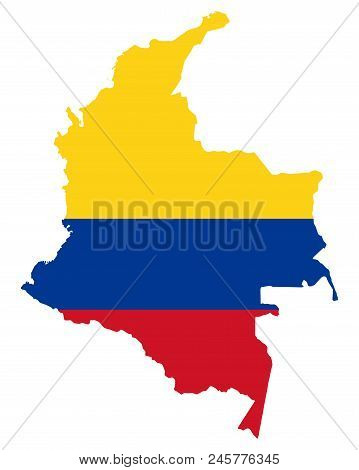 National Flag Of Colombia In The Country Silhouette. Colombian State Ensign. Horizontal Tricolour Of