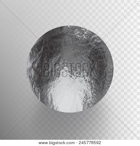 Stock Vector Illustration Shiny, Sparkly Silver Leaf Circle. Metal Foil Texture Isolated On A Transp