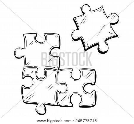 Vector Artistic Pen And Ink Drawing Illustration Of Four Jigsaw Puzzle Pieces, One Of Them Is Not Co