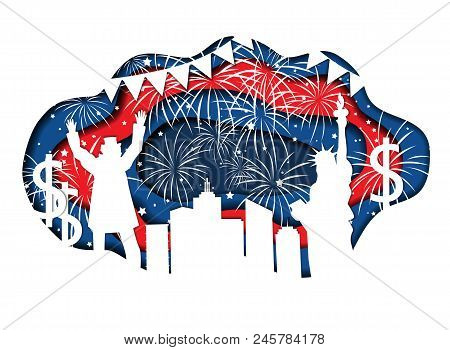 Stylish paper cut banner for Independence Day July 4 USA with Statue of Liberty, Uncle Sam, lights, stars, and city silhouette. Vector illustration. National symbols and colors poster