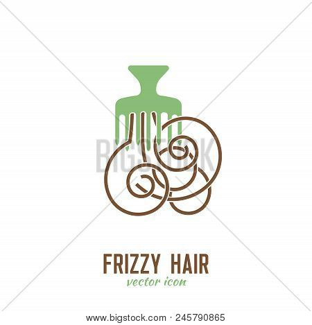Frizzy Hair Icon. Hair Problems Collection. Vector Illustration In Flat Style Isolated On A White Ba