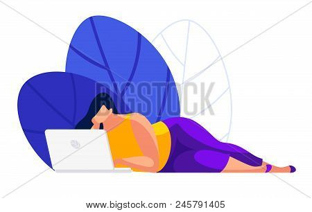 A Girl Is Lying Down And Using A Laptop. Young Woman Internet User In A Flat Style Isolated On White