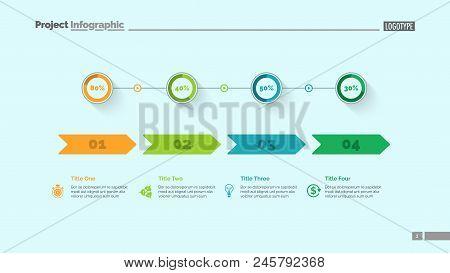 Four Options Percentage Chart Slide Template. Business Data. Comparison, Diagram, Design. Creative C