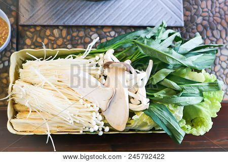 Mushroom And Chinese Cabbage And Morning Glory