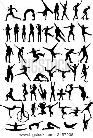 50 Of People Silhouettes.Eps