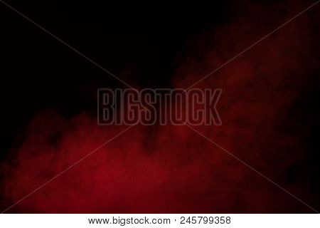 Dense Red Steam On A Dark Background Mysteriously And Breathtakingly The Concept Of Smoking And Drug