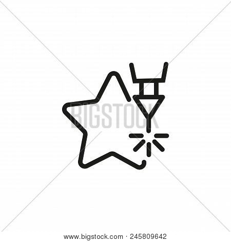 Cnc Laser Design Line Icon. Computer, Numerical, Control, Machine, Star. Industry Concept. Can Be Us