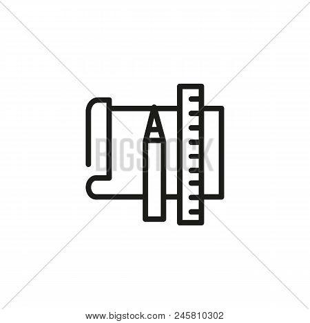 Office Supplies Line Icon. Homework, College, Blueprint. Engineering Concept. Vector Illustration Ca