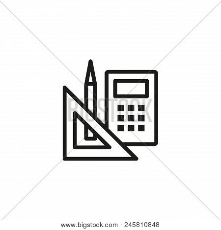 School Supplies Line Icon. Homework, College, Accessory. Stationary Concept. Vector Illustration Can