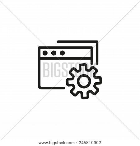 Settings Folder Line Icon. Document, File, Account. Project Management Concept. Vector Illustration