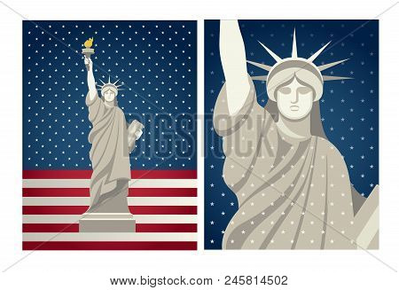 Statue Liberty Vector Vintage Design For 4th Of July Usa Independence Day  - Statue Liberty Beautifu