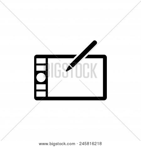 Digital Drawing Board, Graphic Tablet. Flat Vector Icon Illustration. Simple Black Symbol On White B