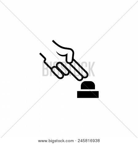 Hand Push Alarm Button. Flat Vector Icon Illustration. Simple Black Symbol On White Background. Hand