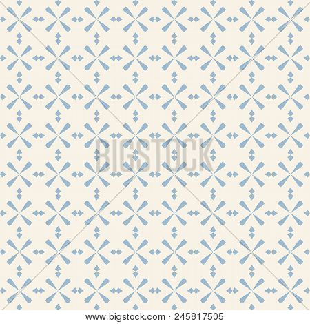 Vector Geometric Vintage Ornament. Abstract Seamless Pattern In Soft Pastel Colors, Blue And Beige.