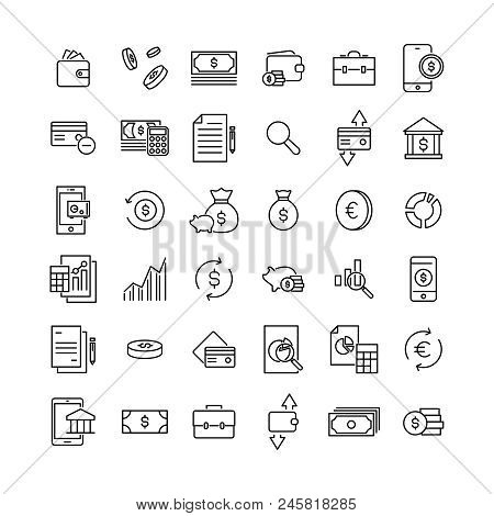 Simple Collection Of Banking Related Line Icons. Thin Line Vector Set Of Signs For Infographic, Logo