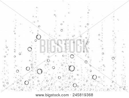 Underwater fizzing air, water or oxygen  bubbles on white  background. Effervescent drink. Fizzy sparkles in sea, aquarium. Champagne. Soda pop. Undersea vector texture. poster