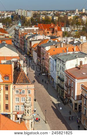 Torun, Poland- 05 April, 2014: Old Town Skyline - Aerial View From Town Hall Tower. The Medieval Old