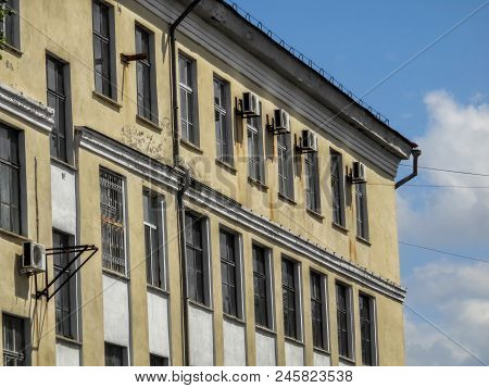 Facade Of A Very Old Building. Classic. Old Architecture. Architectural Heritage