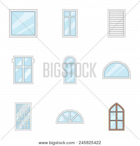 Glass Painting Icons Set. Cartoon Set Of 9 Glass Painting Vector Icons For Web Isolated On White Bac